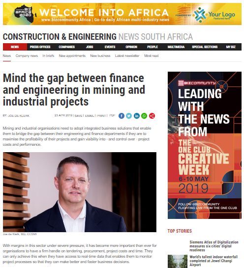 Mind the gap between finance and engineering in mining and industrial projects