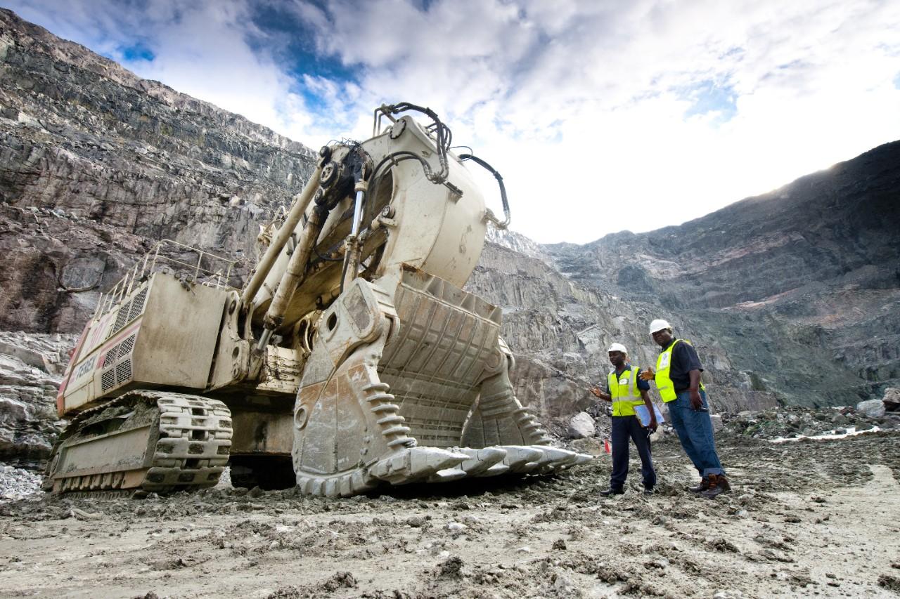 Excavator in a quary