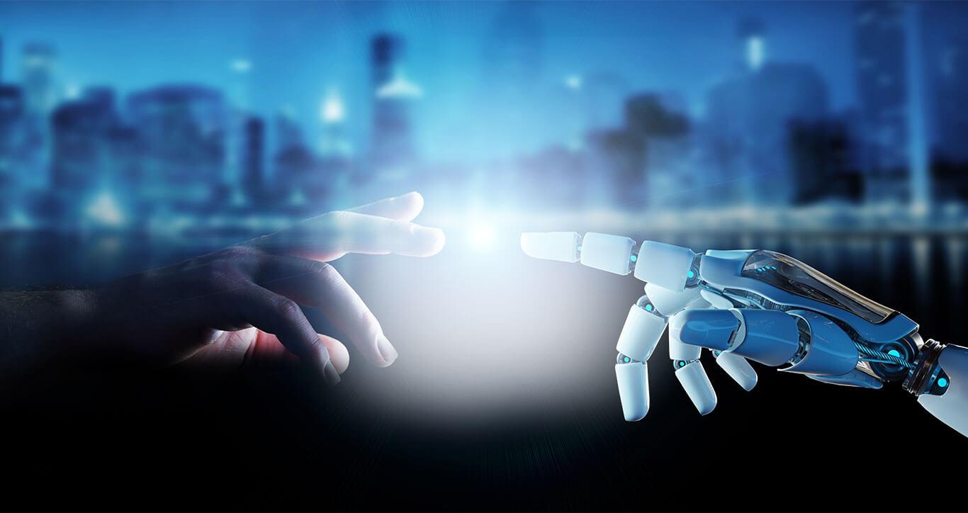 human hand touching a robot hand